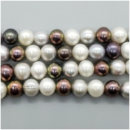 Pearl Fresh Water Near Round and Oval Beads (D) Approximate size 8.75 to 9.34mm x 8.64 to 10.21mm, 16 inches