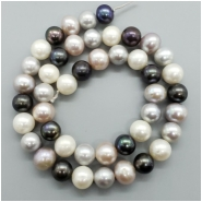 Pearl Fresh Water Near Round Beads (D) Approximate size 8.30 to 9.29mm x 8.55 to 9.93mm, 16 inches
