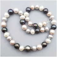 Pearl Semi Round Freshwater bead (N) Approximate size 8.87 to 12.21mm x 10.07 to 12.52, 16 inches