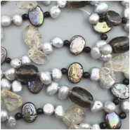 Pearl and Mixed Gemstone Bead (D, H, M) Approximate size 3.33mm to 14.63mm , 21 inches