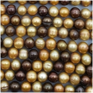 Pearl Oval Ringed Freshwater Bead (D) Approximate size 7 to 7.8mm x 7.9 to 8.32mm, 16.25 to 16.5 inches