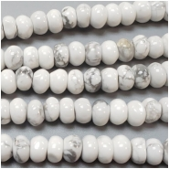 Howlite Irregular Rondelle Gemstone Bead (N) Approximate size 2.98 to 4.26mm x 5.88 to 6.22mm 16 to 16.25 inches