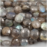 Labradorite Faceted Cushion Coin Gemstone Bead (N) Approximate size 9.2 to 10.8mm, 10 inches