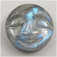 1 Labradorite Carved Moon Face Gemstone Cabochon (N) Approximate size 19.14 x 7.61mm