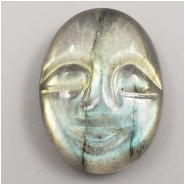 1 Labradorite Carved Moon Face Gemstone Cabochon (N) Approximate size 20.19 x 15.16 x 5.59mm