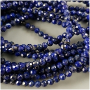 Lapis Lazuli Faceted Round Bead (N) Approximate size 3.4mm to 3.75mm, 7 inches
