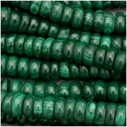 Malachite Rondelle Gemstone Beads (N) Approximate size 5.89 to 6.6mm, 8 inches
