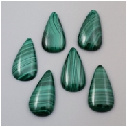 1 Malachite Pear Loose Cut Cabachon Gemstone (N) Approximate size 13.85 x 25.75mm to 14.2 x 26.1mm