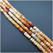 Mexican Fire Opal Faceted Rondelle Gemstone Beads (N) Approximate size 5.25 to 6.04mm x 2.01 to 3.77mm, 7.5 inches