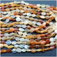 Mexican Fire Opal Oval Gemstone Beads (N) Approximate size 4.08 to 4.44mm x 4.74 to 6.32mm, 8.25 to 9 inches