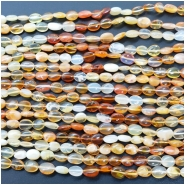 Mexican Fire Opal Oval Gemstone Beads (N) Approximate size 4.08 to 4.44mm x 4.74 to 6.32mm, 9.25 to 10 inches