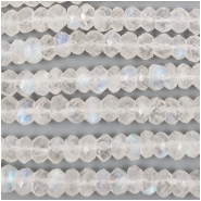 Rainbow Moonstone Faceted Rondelle Gemstone Beads (N) Approximate size 5 to 5.5mm wide, 6.25 to 6.5 inches