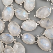 1 Moonstone faceted bezel set sterling silver connector gemstone bead (N) Approximate size 23.40 to 25.64mm x 12.75 to 14.20mm
