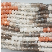 Moonstone Faceted Rondell Multi Color Gemstone Bead (N) Approximate size 2.82 x 4,75mm to 3.85 x 5mm, 14 inches
