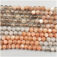 Moonstone Mixed Color Round Gemstone Beads (N) Approximate size 5.98 to 6.38mm, 16 inches