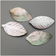 1 Mother Of Pearl Large Carved Leaf Pendant (N) Approximate size 85.95 to 91.52mm length