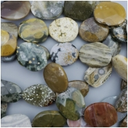 7 Ocean Jasper Faceted Oval Gemstone Bead (N) Approximate size 24.68 to 31.45mm x 16.97 to 25.38mm