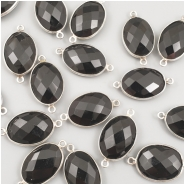 1 Onyx faceted bezel set sterling silver connector oval gemstone bead (D) Approximate size 25.17 to 26.10mm x 13.59 to 14.72mm