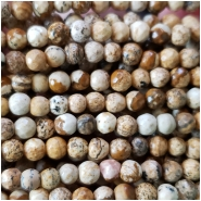 Picture Jasper Micro Faceted Round Gemstone Beads (N) Approximate size 3.96 to 4.53mm, 15 inches