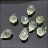 2 Prehnite Faceted Briolette Drop Gemstone Bead (N) Approximate size 7.56 to 8.41mm