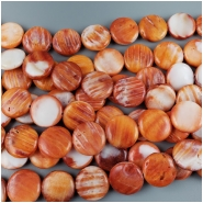 Spiny Oyster Shell Coin Bead (S) Approximate size 15 to 15.25mm, 16 inches