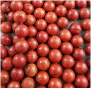 Sponge Coral Red Round Bead (S,D) Approximate size 13.5 to 14mm, 16 inches