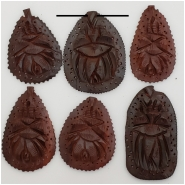 1 Sandlewood Carved Beetle Pendant Bead (S) Approximate size 28.6 to 39.67mm wide, 47 to 58.18mm long