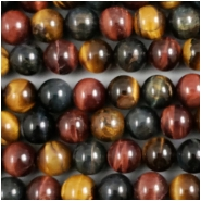 Tigereye Mix Color Round Gemstone Beads (NH) Approximate size 8.2 to 8.6mm, 8 inches