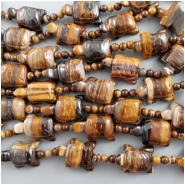 5 Tiger Eye Carved Turtle Fetish Bead with 15- 4mm round beads (N) Approximate size 14.5 x 19.75mm to 15 x 22mm
