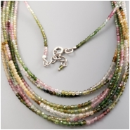 Tourmaline Faceted Round Gemstone Bead with Sterling Clasp and Chain (N) Approximate size 2mm, Beads 17 inches