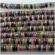 Tourmaline Multicolor Faceted Heishi Gemstone Bead (N) Approximate size 4.73 to 5.33mm. 1 inch