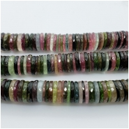 Tourmaline AAA Multicolor Faceted Heishi Washer Gemstone Bead (N) Approximate size 11.14 to 11.71mm. 1 inch.