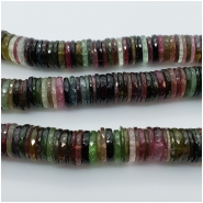 Tourmaline AAA Multicolor Faceted Heishi Washer Gemstone Bead (N) Approximate size 10.52 to 11.03mm. 1 inch.