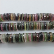 Tourmaline AAA Multicolor Faceted Heishi Washer Gemstone Bead (N) Approximate size 12.06 to 12.72mm. 1 inch