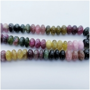 Tourmaline Multicolor Rondelle Gemstone Bead (N) Approximate size 3.81 to 5.97mm x 9.35 to 10.21mm. 4 inches.