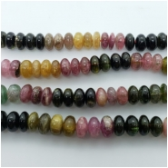Tourmaline Multicolor Rondelle Gemstone Bead (N) Approximate size 2.98 to 6.00mm x 8.78 to 9.40mm. 4 inches.