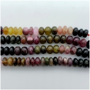 Tourmaline Multicolor Rondelle Gemstone Bead (N) Approximate size 3.65 to 7.58mm x 9.00 to 9.67mm. 4 inches.