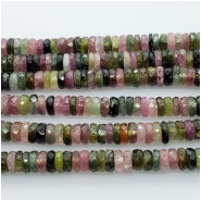 Tourmaline Multicolor Faceted Heishi Gemstone Bead (N) Approximate size 3.81 to 4.09mm. 1 inch