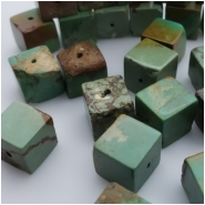 5 Turquoise Maan Shan Stabalized Cube Gemstone Bead (S) Approximate size 9.2 x 9.6 x 9.9mm to 10.2 x 10.3 x 10.2mm