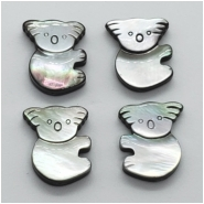 1 Mother of Pearl Doublet Koala Gemstone Bead (N) Approximate size 15.10 x 17.69mm to 15.45 x 17.95mm