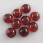 4 Amber Baltic round red cabochon gemstones loose cut (N,H) Approximate size 10mm