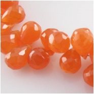 10 Carnelian faceted tear drop briolette gemstone beads (H) Approximate size 5.8 x 7.5mm to 6.3 x 9.5mm top side drilled