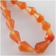 10 Carnelian faceted tear drop gemstone beads (H) Approximate size 3 x 5mm to 4.4 x 6mm drilled end to end