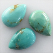 1 Turquoise Hubei tear drop cabochon gemstone (S) Approximate size 10 x 14mm x 3.9 to 5.5mm deep