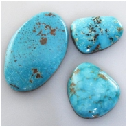 3 Turquoise Turquoise Mountain cabochon gemstones (N) Approximate size 15 x 20 x 4.9mm deep to 22 x 34 x 5.7mm deep