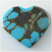 1 Turquoise Hubei heart pendant gemstone bead (S) Approximate size 40 x 44mm x 6.2mm thick Top drilled hole for bale insert