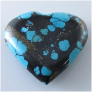 1 Turquoise Hubei heart pendant gemstone bead (S) Approximate size 34 x 36mm x 4.7mm thick Top drilled hole for bale insert