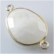 1 Moonstone faceted bezel set silvertone connector gemstone bead (N) Approximate size 14 x 22mm to 16 x 26mm