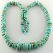 Turquoise North American graduated disc rondelle gemstone beads (S) Approximate size 8 to 19mm 24 inch