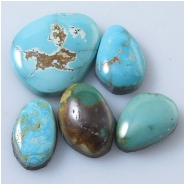 5 Turquoise Royston cabochon gemstones (N) Approximate size range 9 x 15mm to 17.2 x 21.4mm
